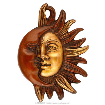 Sun And Moon Wall Art sun moon half face wall hanging metal brass plate religious decor