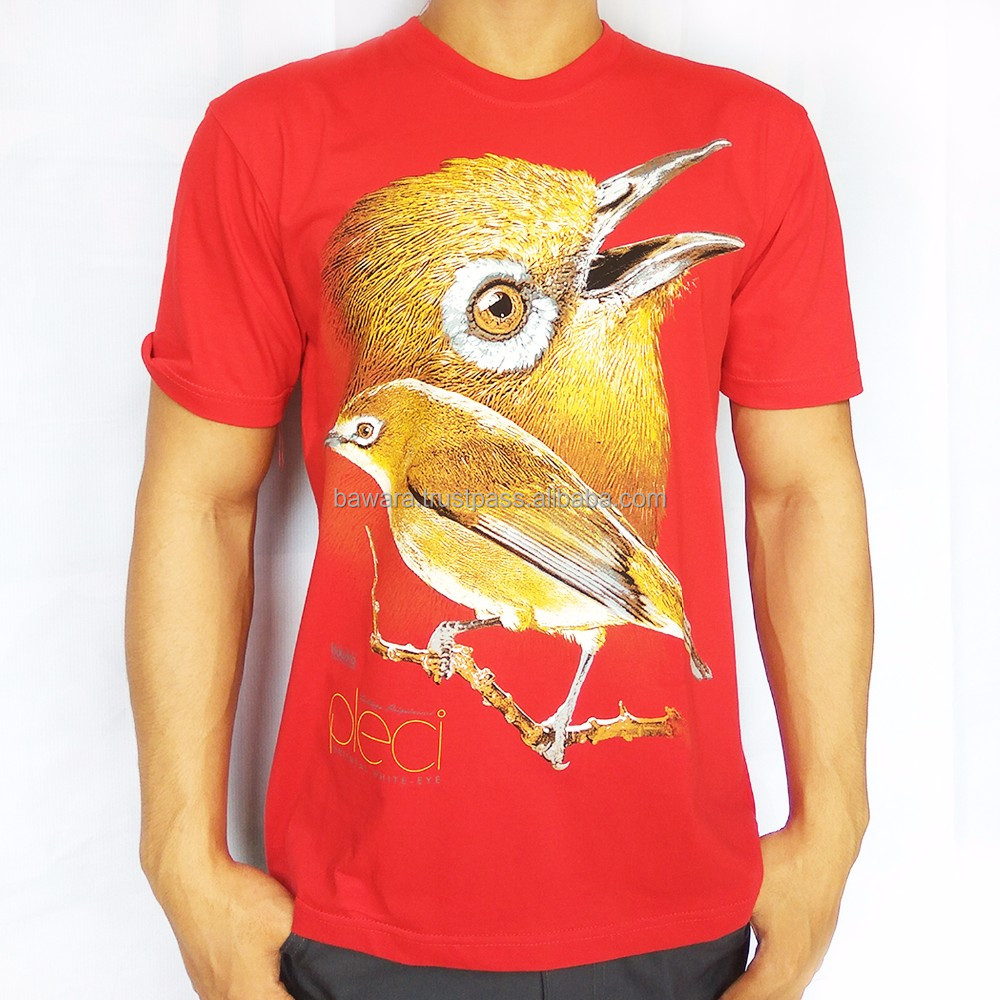 Bawara Regular T-Shirt 100% Soft Cotton | Bird Themes | White Eye (Pleci) - Red