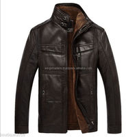 2018 HOT New winter men's leather coat collar Sheep Brown Waxed coats jacket With Different Colors For Men