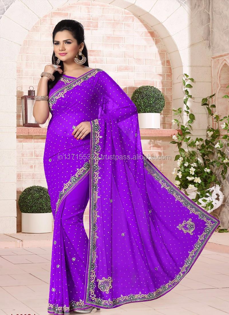 f8b04f6444eb20 Latest blue chiffon wedding hand work lehenga saree - Saree blouse hand  patterns - Saree lehenga