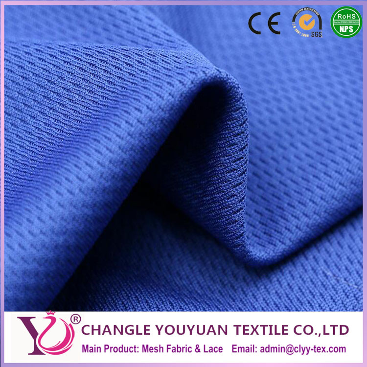 High quality blue micro mesh dry fit football shirt fabric