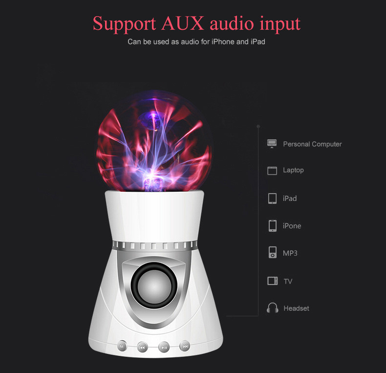 Magic Touch plasma wireless Bluetooth speaker,Magic plasma ball lights speaker purify air Plasma Music Boombox support TF card