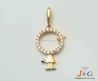 9K, 10K, 14K, 18K Yellow gold CZ design jewelry Pendant/Necklace in South Korea