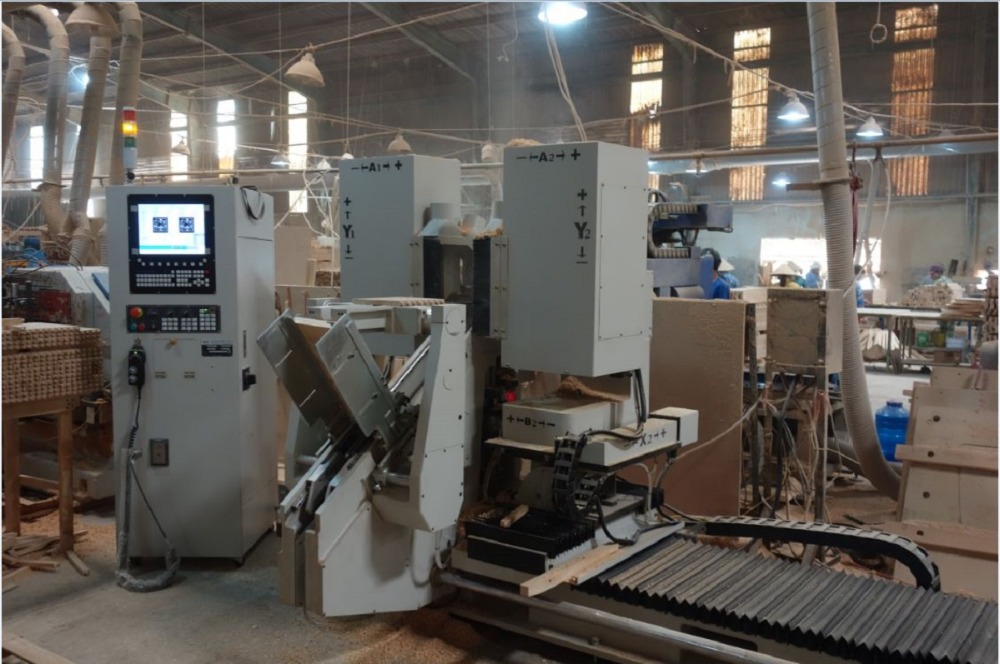 5-assige cnc houtbewerking machine double end pennenbank