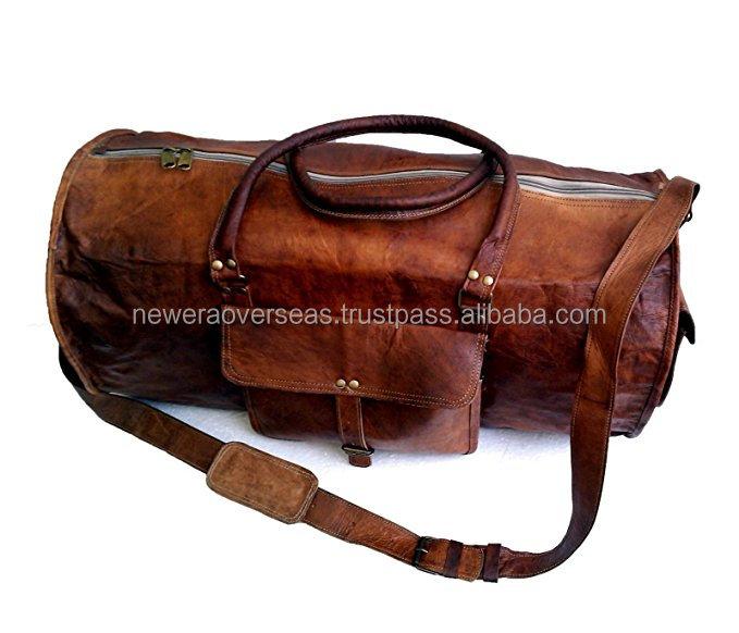 Leather Duffle Travel Men Gym Luggage Genuine Overnight Mens Vintage Duffel Bag