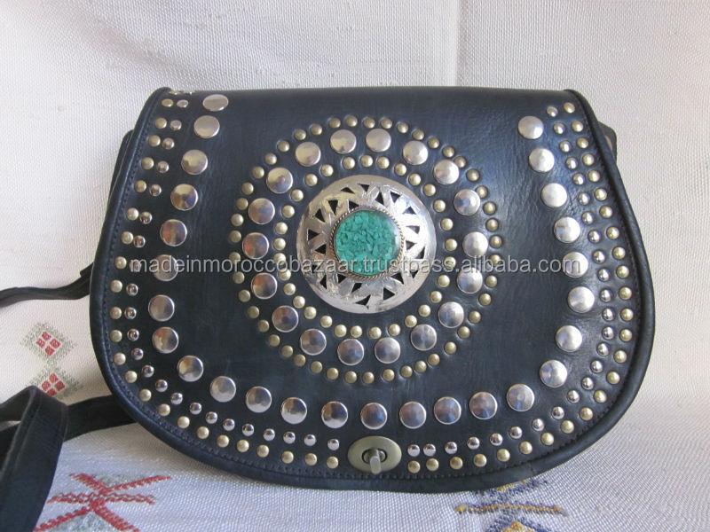 Hippie Moroccan Handmade Leather Studded Boho Satchel Bag - Buy ...