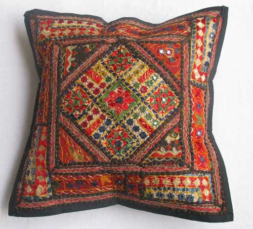 Indian Kantha Cushion Cover Cotton Pillow Handmade