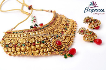 564a7bb15a Wholesale wedding wear necklace set - Indian dulhan jewelry set -  Traditional one gram gold plated