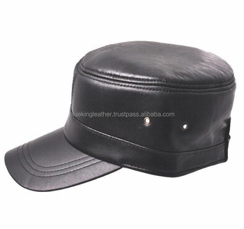New Fashion Men s 100% Real Leather Officers Cap   Flat   Golf Hats ... 760e8862080