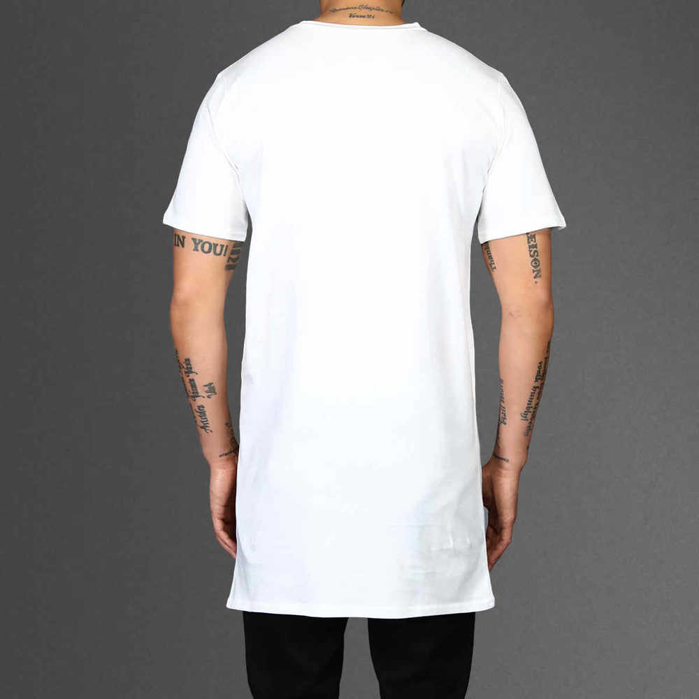 T shirt plain white back - Extended And Extra Long T Shirt With Side Split And Zipper