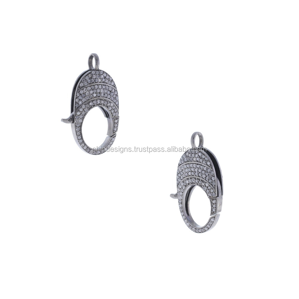 Designer 925 Sterling Silver Pave Diamond Lobstar Spring Clasp Lock Findings