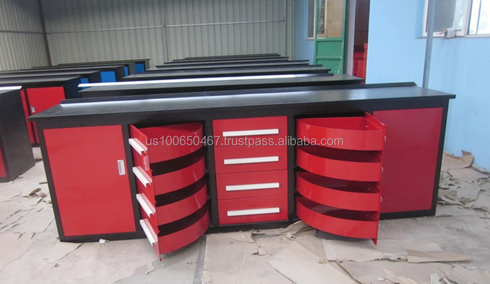 garage tool cabinet with red color