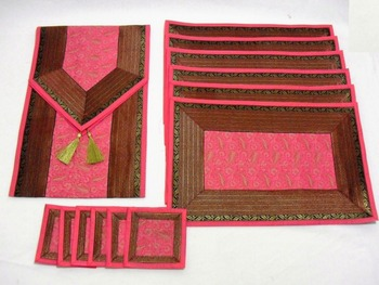 Indian Silk Table Runner With Placemats And Coaster In Pink Color Size 16*62