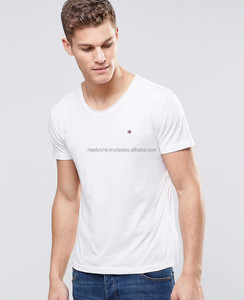OEM/ODM Shandao 190g 100% Cotton High Quality Simple Design O-Neck Short Sleeve Curved Hem