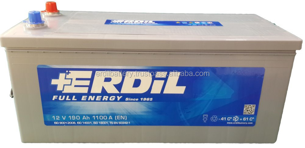 190 Ah Heavy Duty MF Maintenance Free Truck Battery - made in Turkey Erdil battery