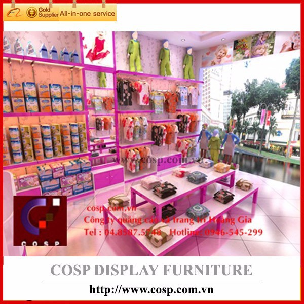 Store display shelf stand rack design to display kid's clothes, shoes, accessory, furniture