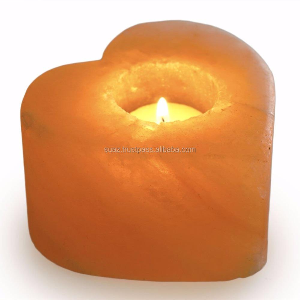 Natural Himalayan Heart Shaped Salt Candle Holder Crafted Salt Heart Shape Candle Holder Heart Shaped Tea Light Candle Holder Buy Cross Shape Candle