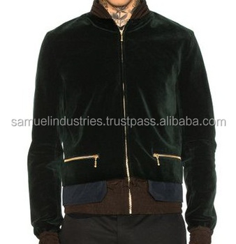 227e8601f2c OEM Sporty Two Tone green   brown Satin velvet Bomber Jacket with front  golden Zipped  Men s italy camo down bomber jacket