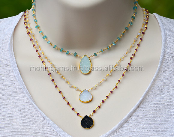 Super Fine Agate Sugar Druzy Beaded Chain Long Statement Necklace For Women