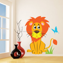 Nursery Vinyl Wall Kids Decal Lion with Butterfly Art Home Baby Animal Tiger Sticker Child Kids Room Decoration