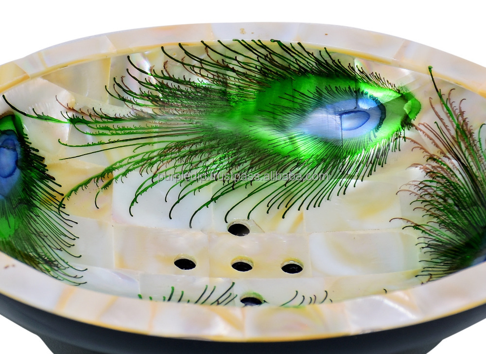 Peacock Design Premium Mother of Pearl Soap Dish (10711)