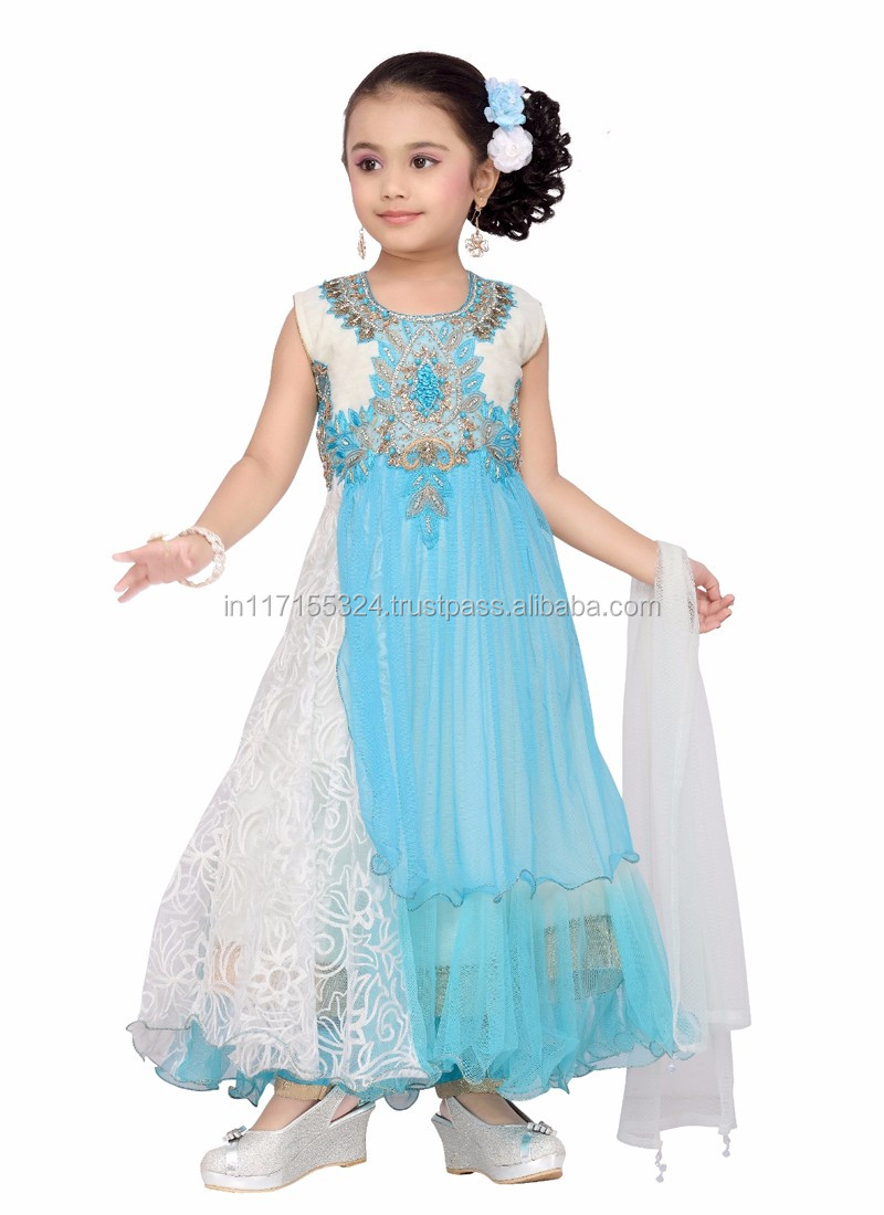 Net Three Piece Girls Latest Kids Party Wear Dresses - Net On Kids ...