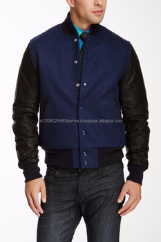 Royal Blue Wool Blend Leather Sleeve Varsity Jacket/college uniform jacket