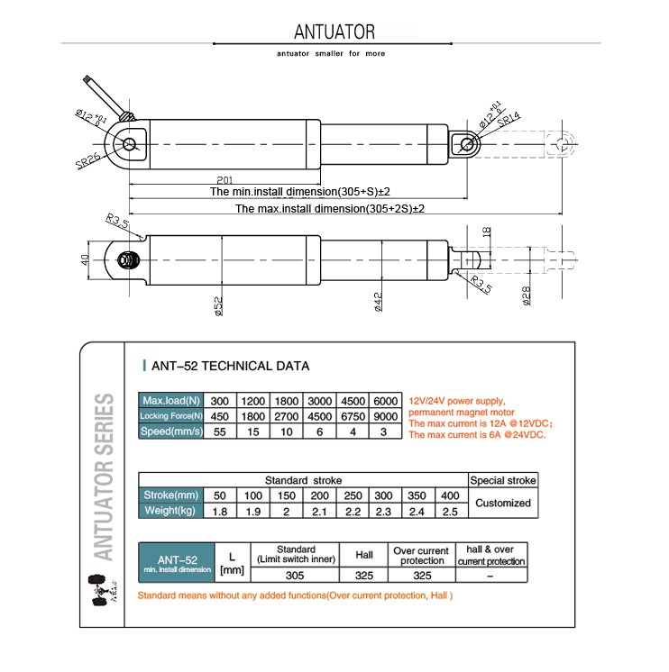Customized stroke 6000N ANT-52 push and pull solenoid linear actuator