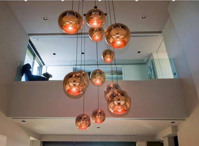 Copper Shade Mirror Chandelier Light E27 Led Copper Pendant Lamp ...