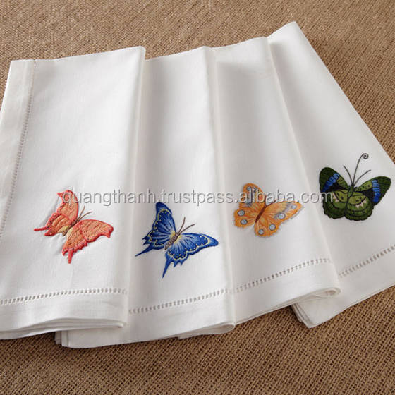 Hand embroidery napkin hemstitch linen buy