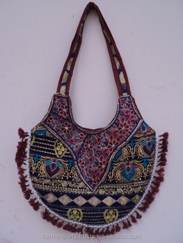 Women Latest Rajsthani Boho Banjara Handbags Cotton Badmeri Hand