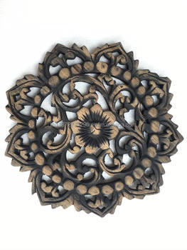 Wood Carved Wall Decor lotus in black wood panels,wood sculpted wall panel,wood wall