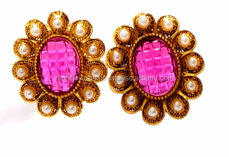 Royal pink stone imitation kundan and pearl style stud earrings