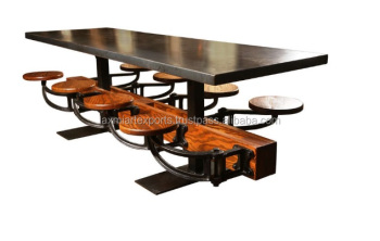 Dining Table With Attached 8 Eight Swinging Stools Vintage Cafeteria Manufacturer Whole Supplier