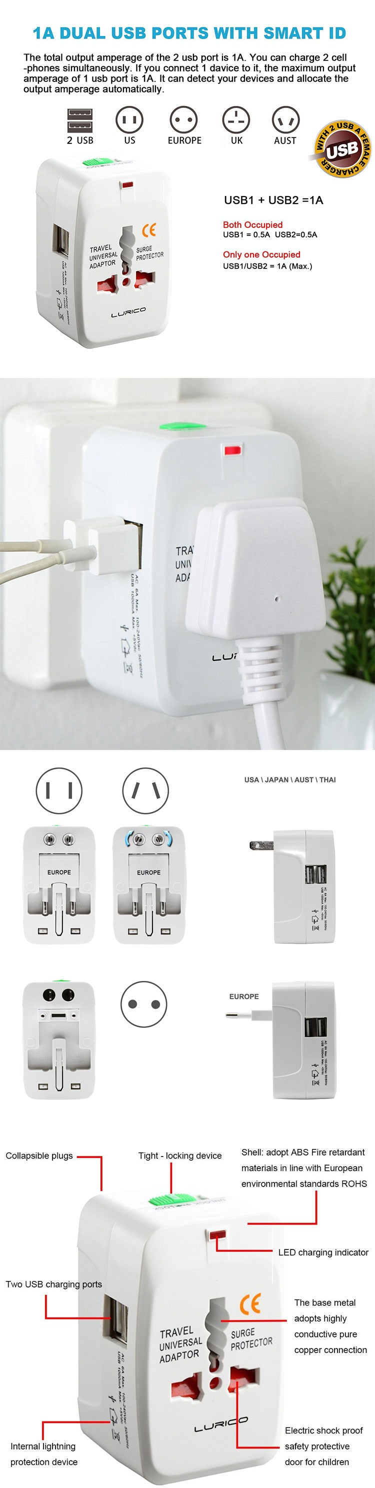 2016 New Gadgets Universal Socket Usb Travel Adapter Electrical ...