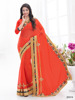 Indian Women Attractive Designer Orange Color Chinnon Fabric Patch Work Saree