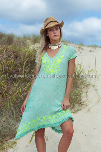 Daisy Gorgeous Neon Divine Shade of Mint Embroidery New Aari Spring V neck Summer Cap Sleeves Dress/Women Tunic