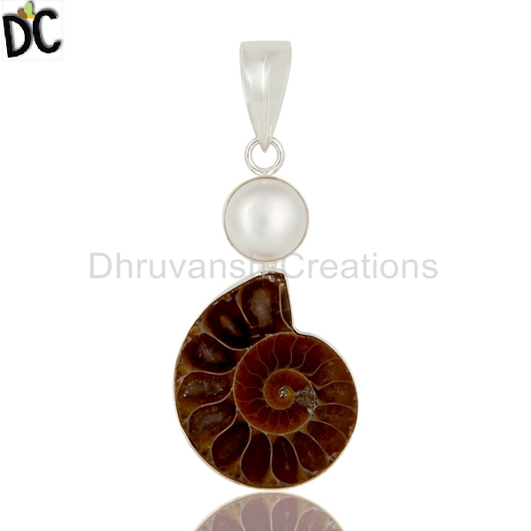 Natural Pearl and Ammonite Gemstone Pendant Handmade Sterling Fine Silver Pendant Jewelry