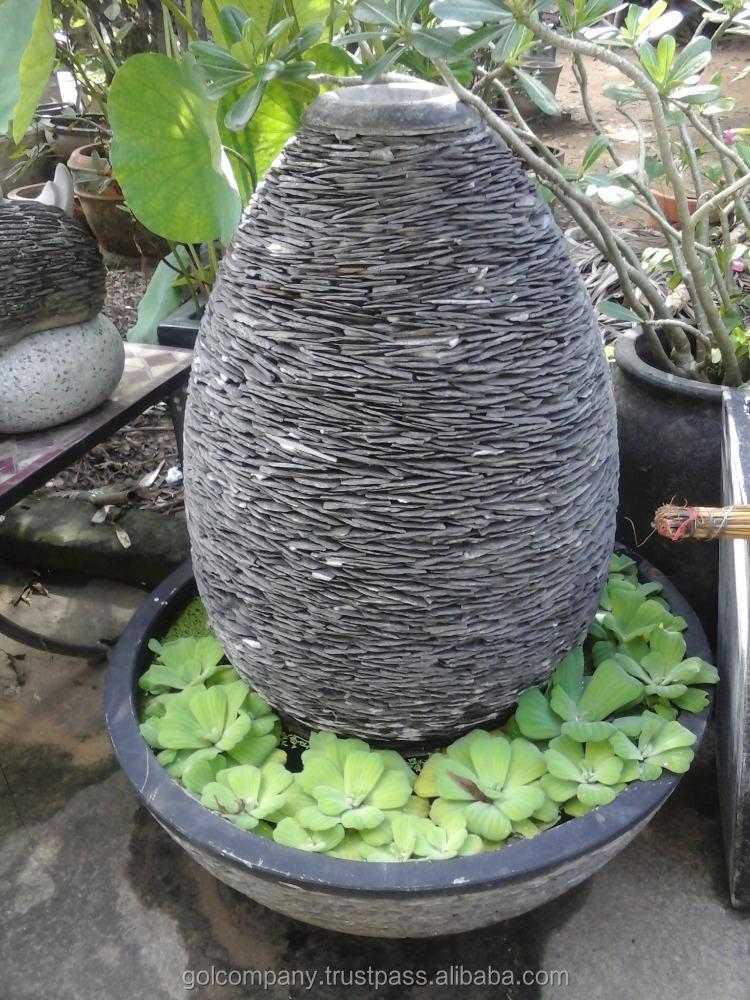 Mayor fuente de agua fuente de piedra y pizarra apiladas - Macetas de piedra para jardin ...