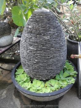[wholesale] Pebble U0026 Slate Water Feature Fountain   Stacked Stone Walls    Sandstone Garden