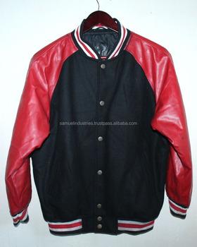 newest 61819 f7aac Americano Lana Tinta Unita Football Baseball Varsity Jacket Per Il College  \ Nero Corpo Lana Rosso Maniche In Pelle Slim Fit Giacca Varsity - Buy ...