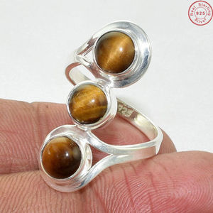Hot Selling Brown Tiger Eye Silver Three Stone Ring Handmade Silver Jewelry Manufacturer 925 Silver Jewelry Ring