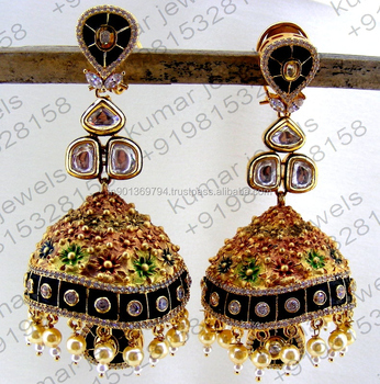 Costume Fashion Pearl Beaded Kundan Cz Stone Multi Color Black Long Jhumka Earrings