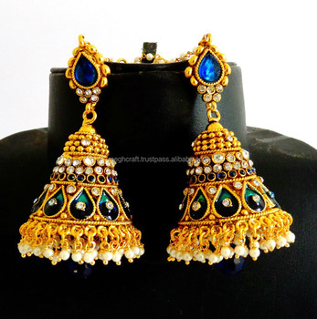 Antique Jhumka Earring Bollywood One Gram Gold Earrings South Indian