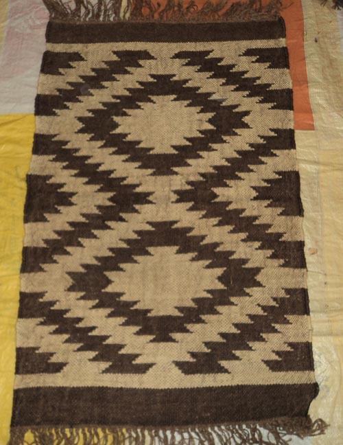 Indian Hand Loomed Vintage Kilim Design Jute Wool Yoga Mat