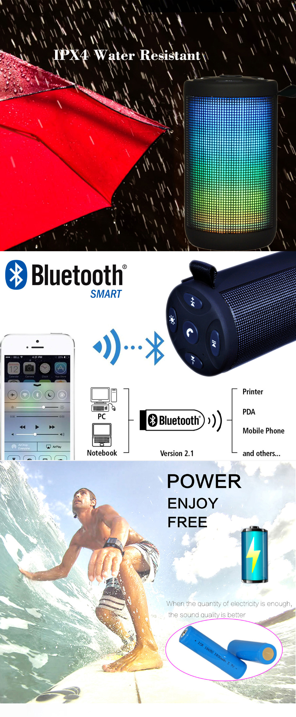 Waterproof Mini Portable Bluetooth Speaker with FM IPX4