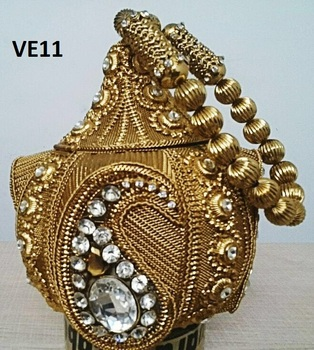 VE11A antique gold vintage handmade metal purses clutches from Indian artisans online shopping