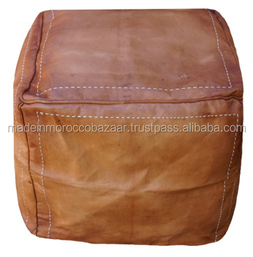 Vintage Handmade Genuine Leather Square Poufs