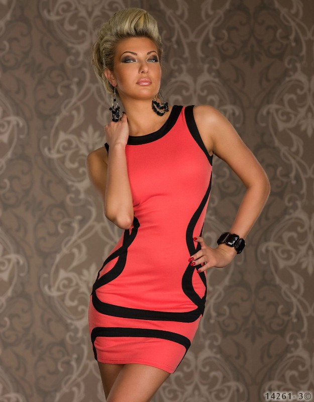 9c5f89e27f ML17845 Elegant Orange Sleeveless Black Trims Disco Wear Bodycon Tank Dress  Ball Party Wear Party Dresses