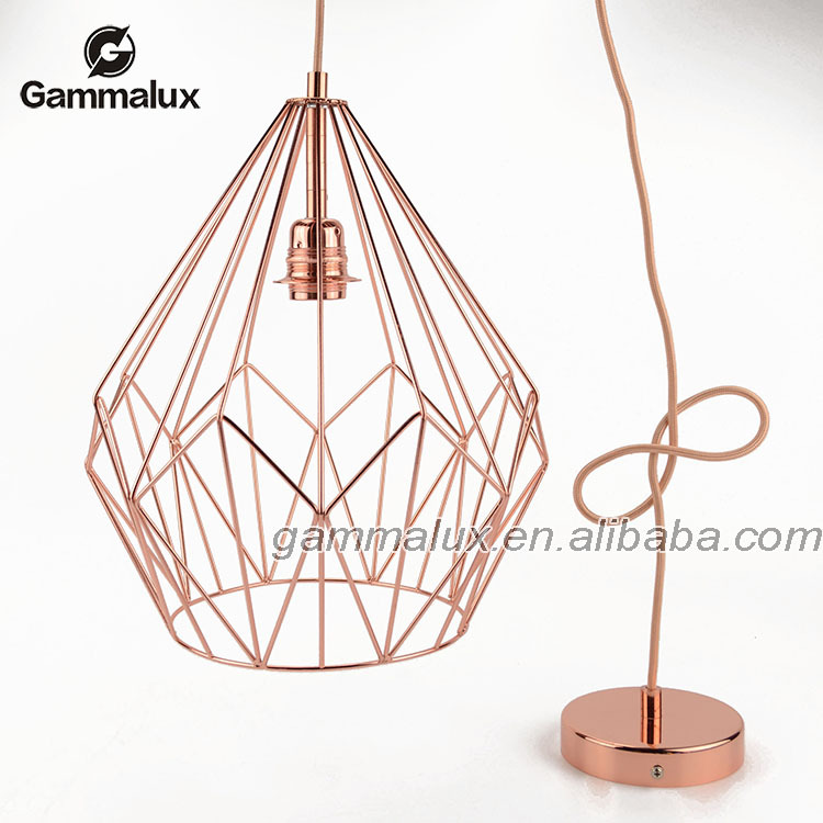 Antique Modern Style Lighting Retro Wire Cage Ceiling Lamp Copper Color Pendant Light